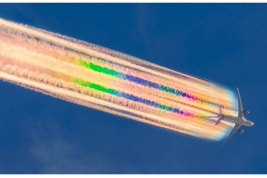Contrail formation occurs when cruising above 26,000ft.